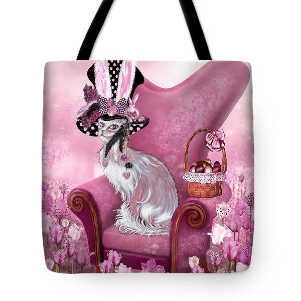 Cat In Mad Hatter Hat Tote Bag by Carol Cavalaris