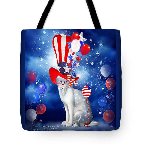 Cat In Patriotic Hat Tote Bag by Carol Cavalaris