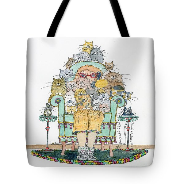 Cat Lady - In Chair Tote Bag by Mag Pringle Gire