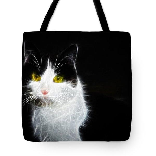 Cat Portrait Fractal Artwork Tote Bag by Matthias Hauser