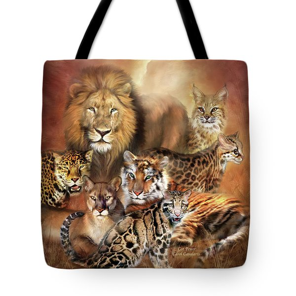 Cat Power Tote Bag by Carol Cavalaris