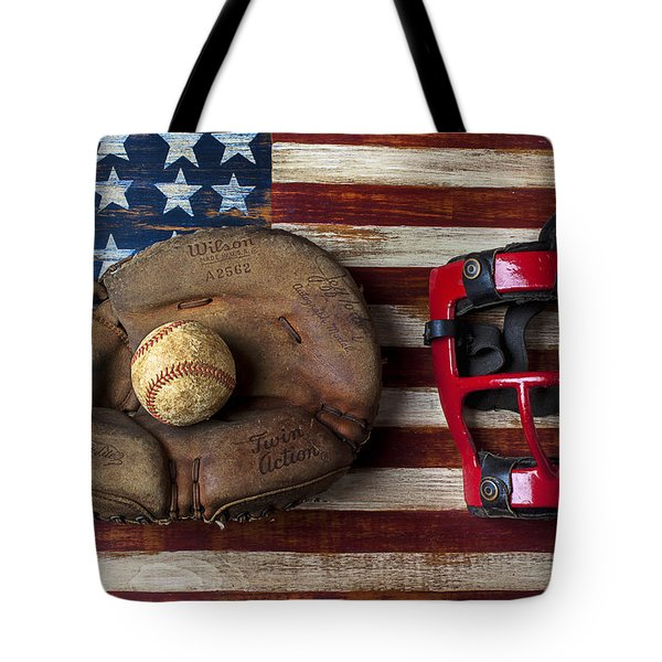 Catchers Glove On American Flag Tote Bag by Garry Gay