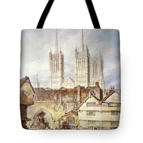 Cathedral church at Lincoln 1795 Tote Bag by Joseph Mallord William Turner