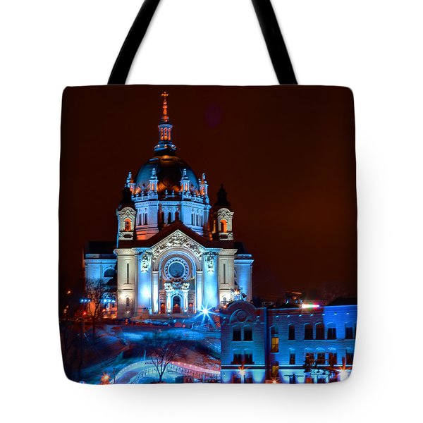 Cathedral Of St Paul All Dressed Up For Red Bull Crashed Ice Tote Bag by Wayne Moran