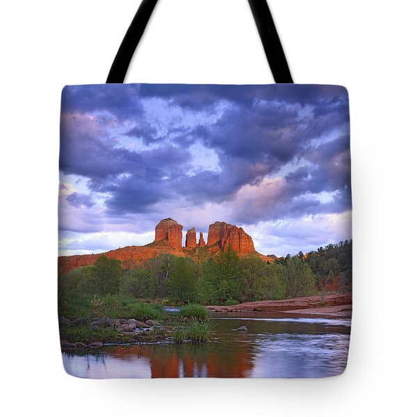 Cathedral Rock And Oak Creek At Red Tote Bag by Tim Fitzharris