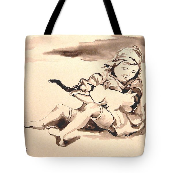 Cathy And Her Cat Tote Bag by Diane Kraudelt
