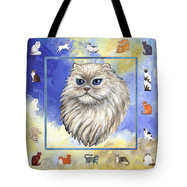 Cats Purrfection Four - Persian Tote Bag by Linda Mears