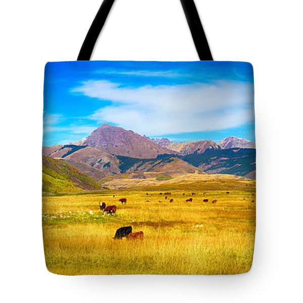 Cattle Grazing Autumn Panorama Tote Bag by James BO  Insogna