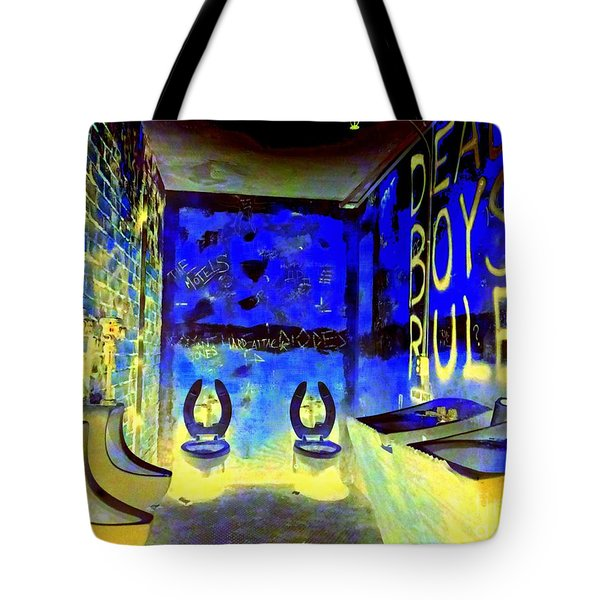 Cbgb's Notorious Mens Room Tote Bag by Ed Weidman