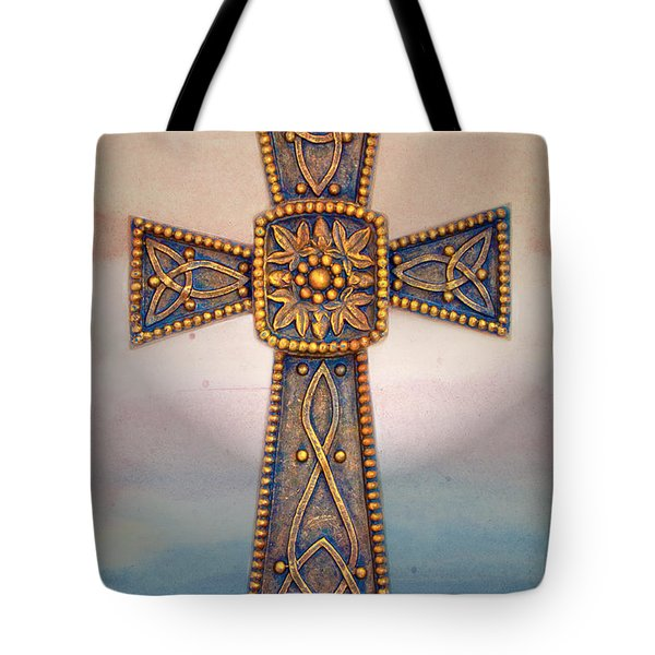 Celtic Cross Sunrise Tote Bag by Sandi OReilly