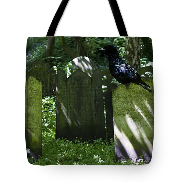 Cemetery with Ancient Gravestones and Black Crow  Tote Bag by Nomad Art And  Design