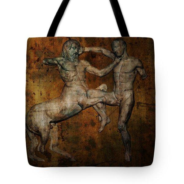 CENTAUR vs LAPITH WARRIOR Tote Bag by Daniel Hagerman