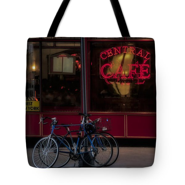 Central Cafe Bicycles Tote Bag by Susan Candelario
