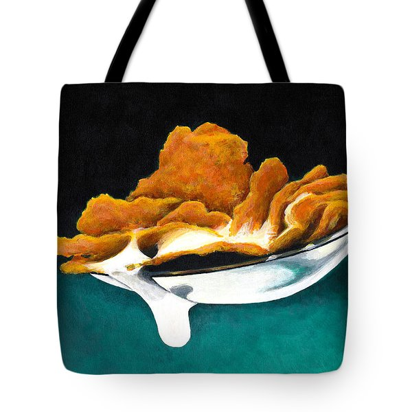 Cereal In Spoon With Milk Tote Bag by Janice Dunbar
