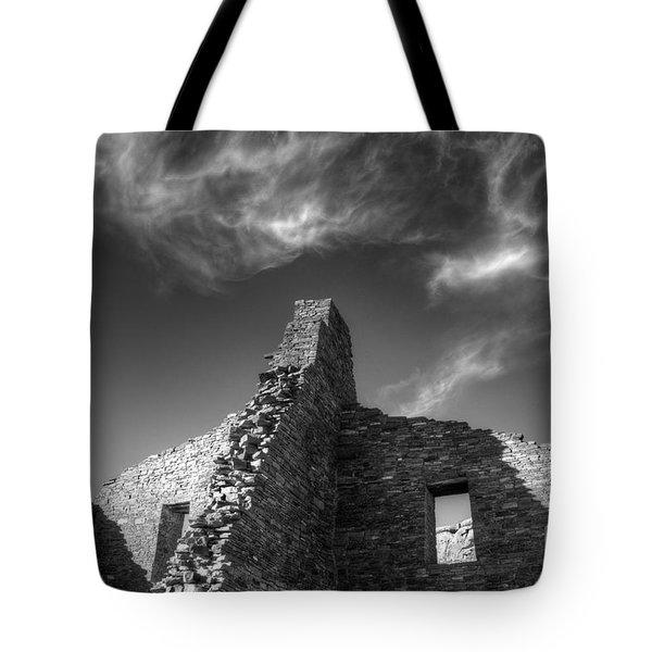 Chaco Canyon Pueblo Bonito Monochrome Tote Bag by Bob Christopher