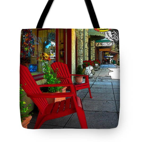 Chairs On A Sidewalk Tote Bag by James Eddy
