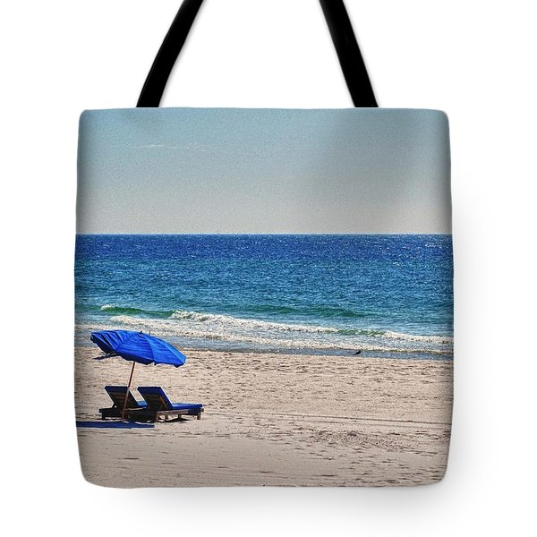 Chairs on the Beach with Umbrella Tote Bag by Michael Thomas