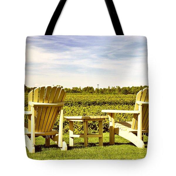 Chairs overlooking vineyard Tote Bag by Elena Elisseeva