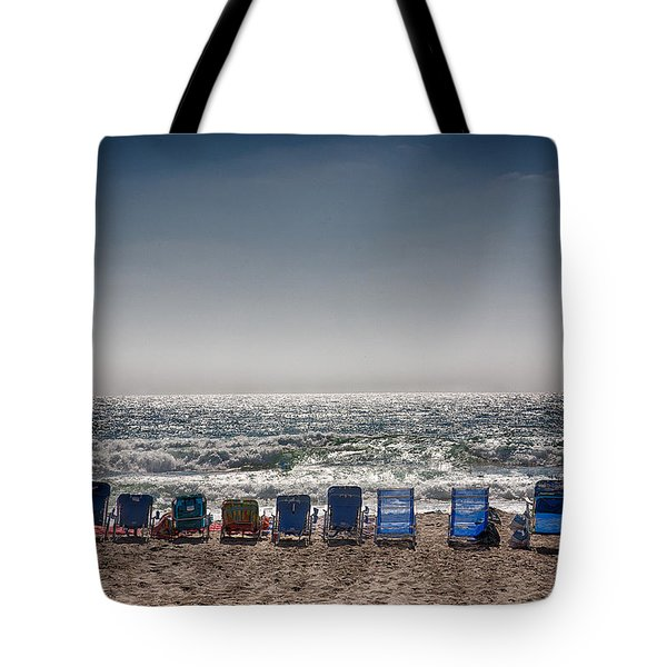 Chairs Watching The Sunset Tote Bag by Peter Tellone