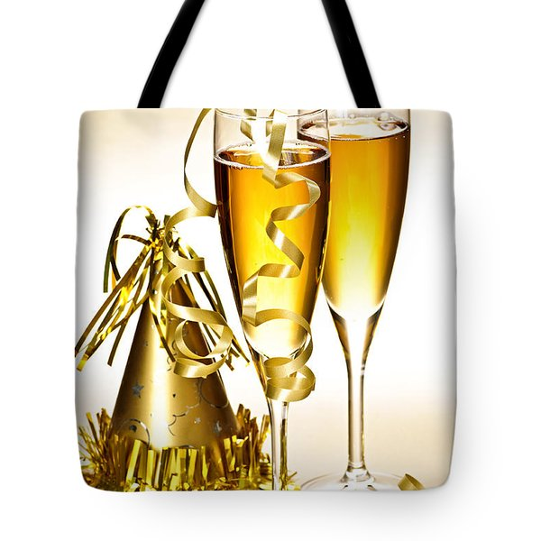 Champagne and New Years party decorations Tote Bag by Elena Elisseeva