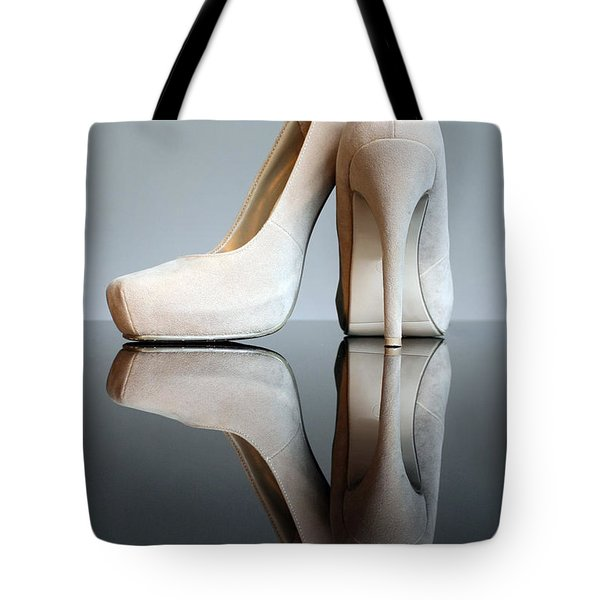 Champagne Stiletto Shoes Tote Bag by Terri Waters