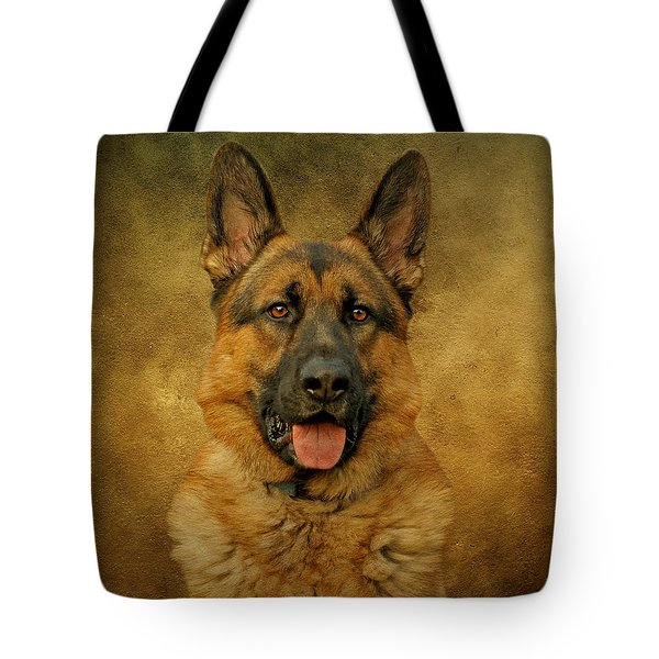 Chance - German Shepherd Tote Bag by Sandy Keeton