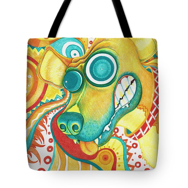 Chaotic Canine Tote Bag by Shawna Rowe