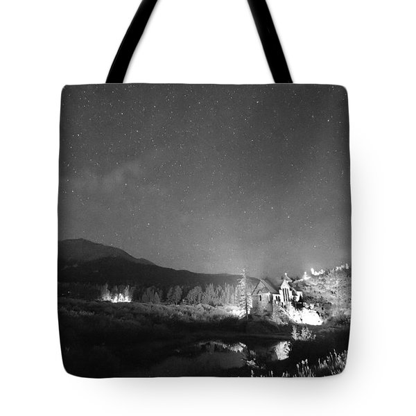 Chapel On the Rock Stary Night Portrait BW Tote Bag by James BO  Insogna
