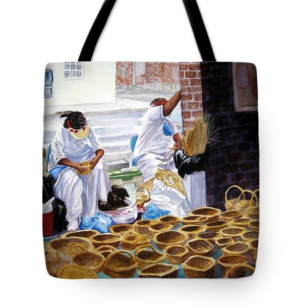 Charleston Basket Weavers Tote Bag by Julia Rietz