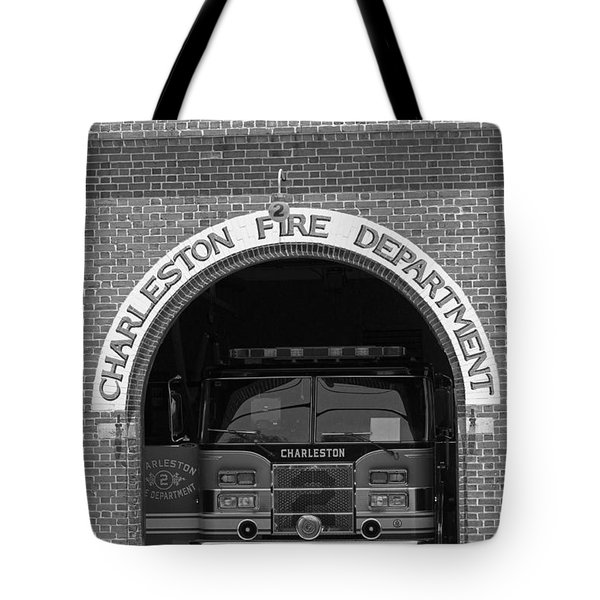 Charleston Fire Department - Black And White Tote Bag by Suzanne Gaff