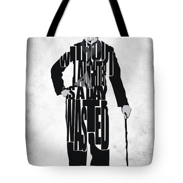 Charlie Chaplin Typography Poster Tote Bag by Ayse Deniz