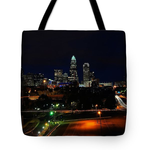 Charlotte NC at night Tote Bag by Chris Flees