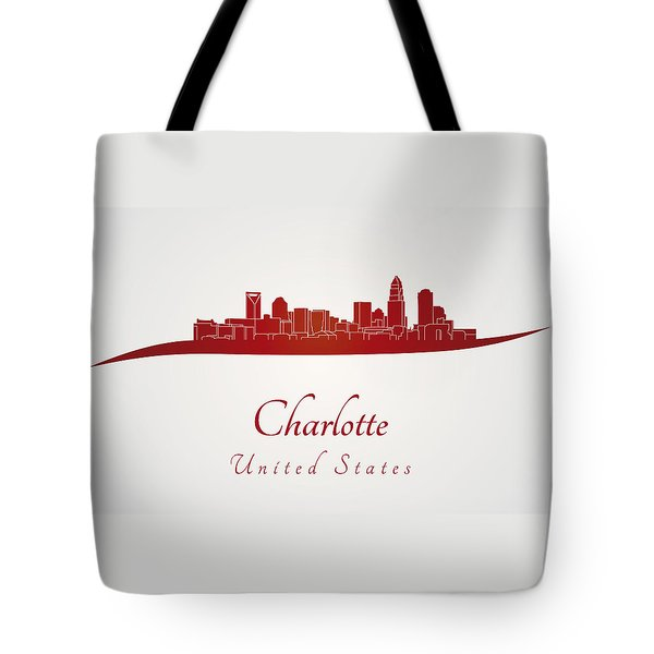 Charlotte skyline in red Tote Bag by Pablo Romero