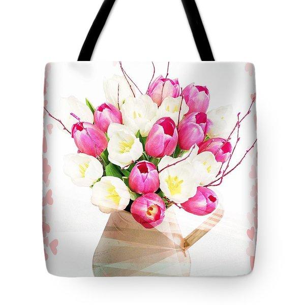 Charming Heart Tulips Tote Bag by Debra  Miller