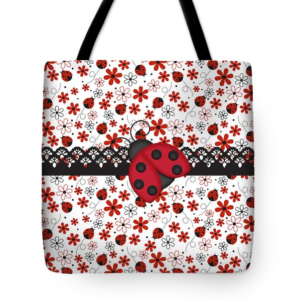 Charming Ladybugs Tote Bag by Debra  Miller
