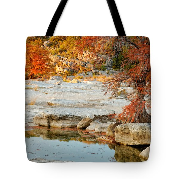 Chasing The Light At Pedernales Falls State Park Hill Country Tote Bag by Silvio Ligutti