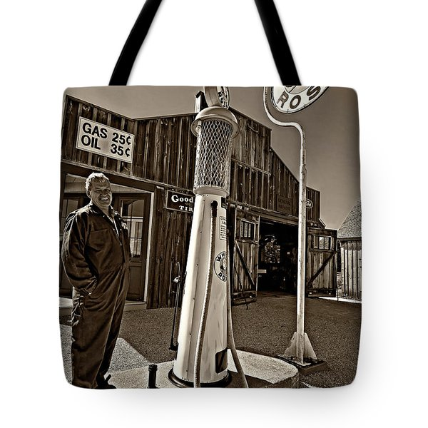 Check Your Oil Sir Monochrome Tote Bag by Steve Harrington