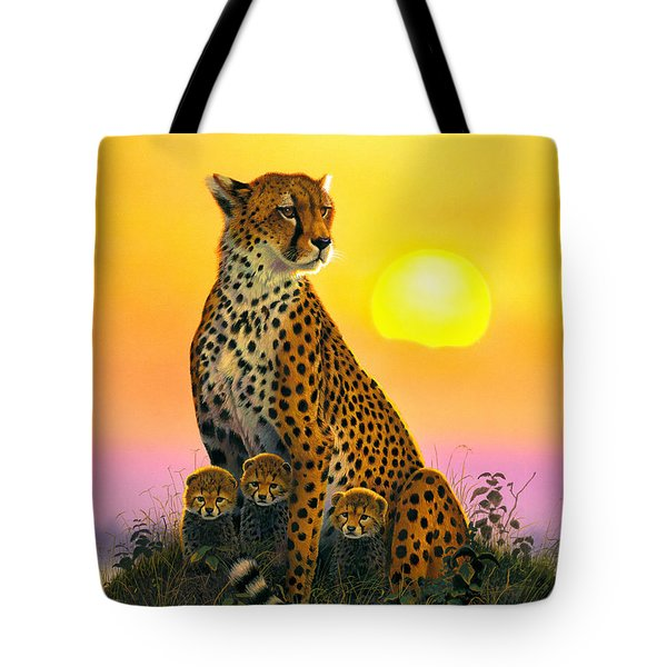 Cheetah And Cubs Tote Bag by MGL Studio - Chris Hiett