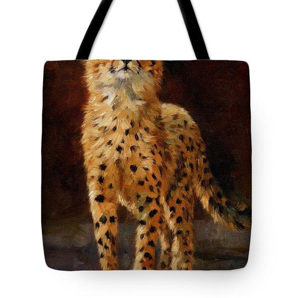 Cheetah Cub Tote Bag by David Stribbling