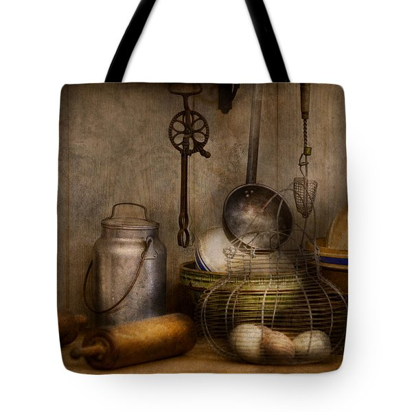 Chef - Ingredients - Breakfast and grandpa's Tote Bag by Mike Savad