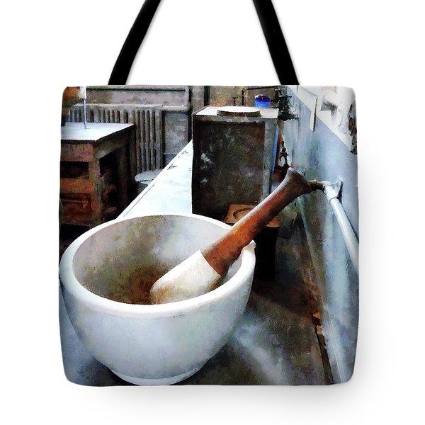 Chemist - Mortar And Pestle In Lab Tote Bag by Susan Savad