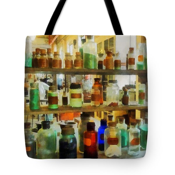 Chemistry - Bottles Of Chemicals Green And Brown Tote Bag by Susan Savad