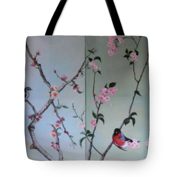 Cherry At The Foot Of Mount Fuji Tote Bag by Sorin Apostolescu