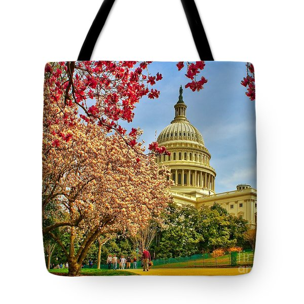 Cherry Blossoms At The Capitol Tote Bag by Nick Zelinsky