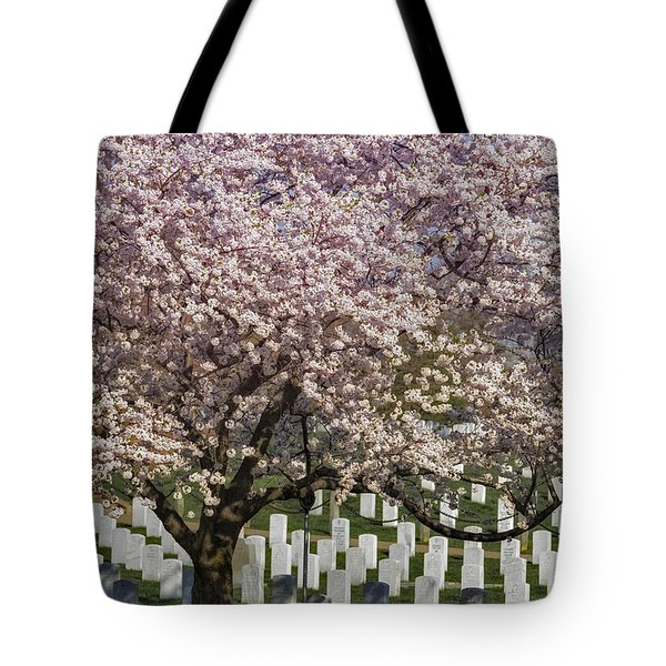 Cherry Blossoms Grace Arlington National Cemetery Tote Bag by Susan Candelario