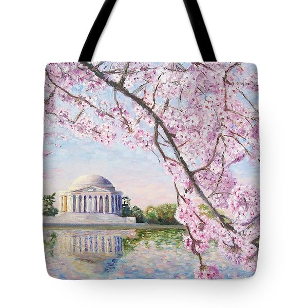 Jefferson Memorial Cherry Blossoms Tote Bag by Patty Kay Hall