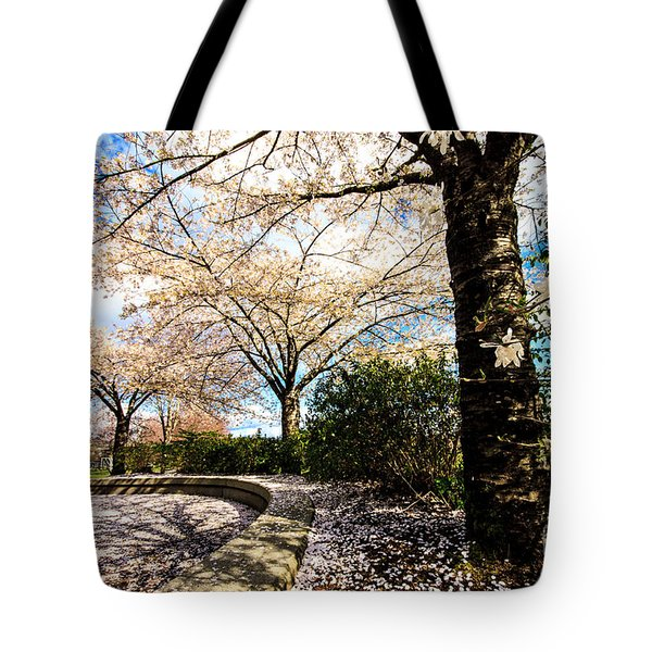 Cherry Blossoms Tote Bag by Nancy Harrison