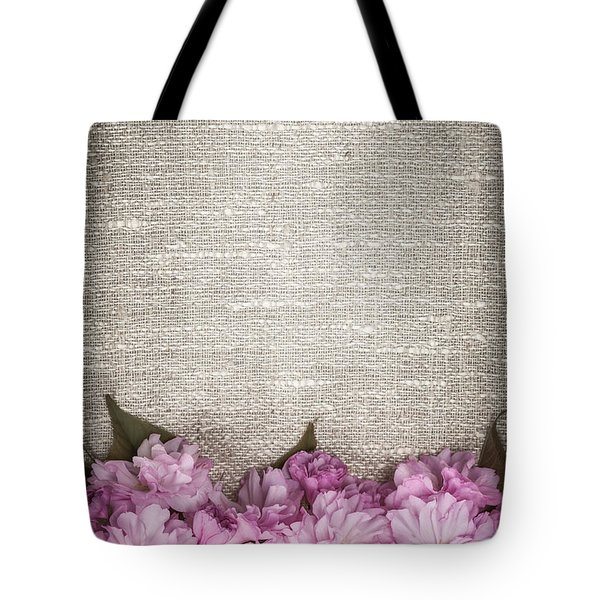 Cherry Blossoms On Linen Tote Bag by Elena Elisseeva