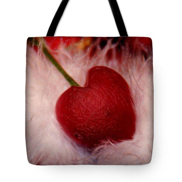 Cherry Heart Tote Bag by Linda Sannuti