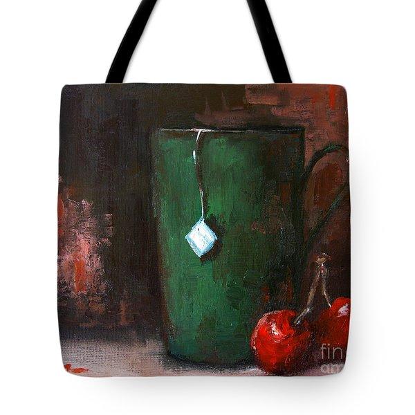 Cherry Tea in green mug Tote Bag by Patricia Awapara